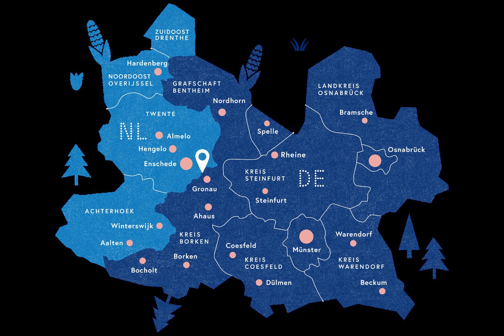 Kaart met alle regio's van de EUREGIO